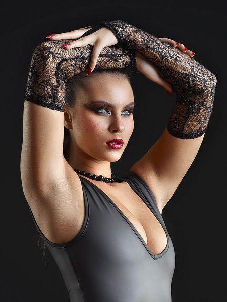 Patrice Catanzaro Dentelle: Spitzen-Armstulpen, schwarz