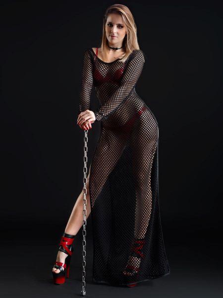 Patrice Catanzaro Enza: Netz-Kleid, schwarz