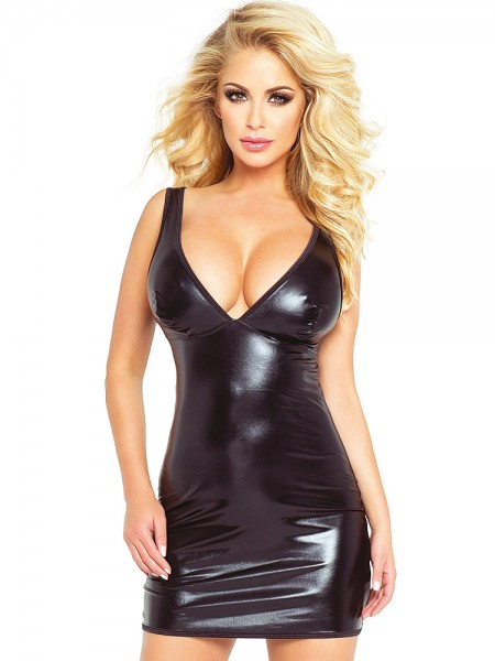 Provocative: Wetlook-Minikleid, schwarz