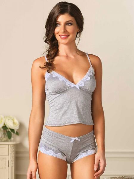 Leg Avenue: Hemdchen-Set, grau/weiß