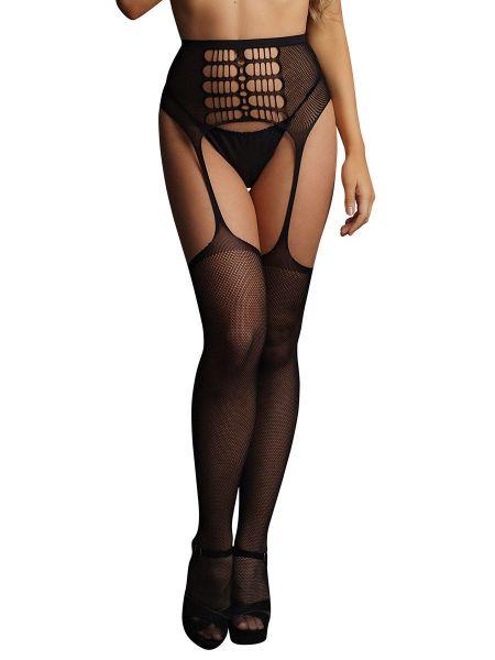 Le Désir High-Waist Garterbelt Stockings: Ouvert Mieder-Strumpfhose, schwarz