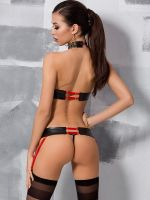 Passion Aziza: Ouvert-Strapsset 3-teilig, schwarz/rot