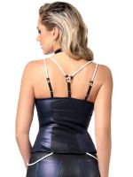 Patrice Catanzaro Peggy: Wetlook-Top, schwarz