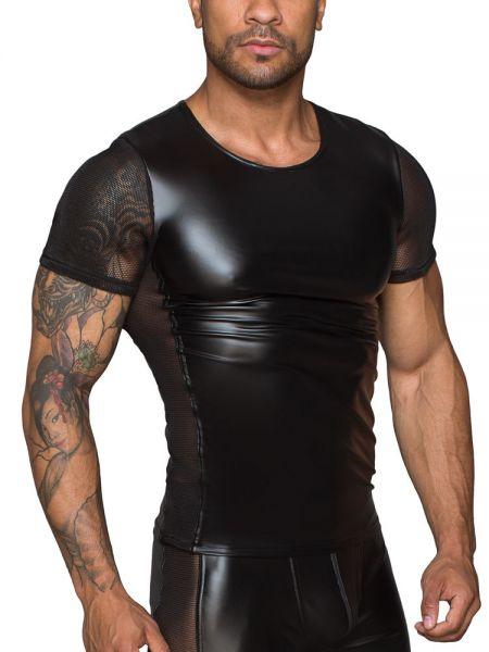 Noir Handmade: Wetlook-Netz-Shirt, schwarz