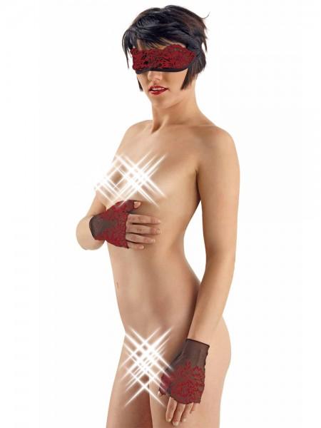 Eros Veneziani Adelia: Maske und Handschuhe, schwarz/rot