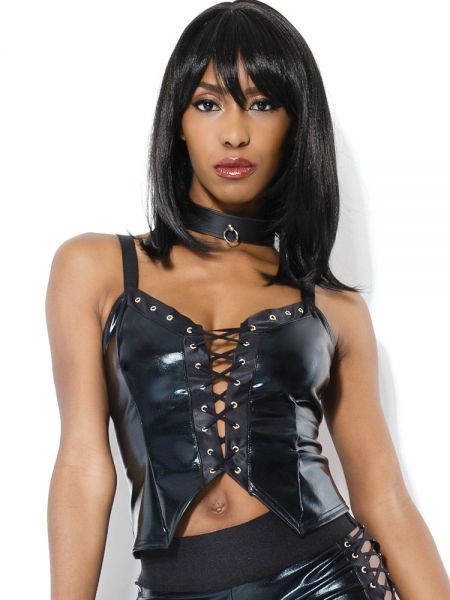 Coquette: Wetlook-Top, schwarz