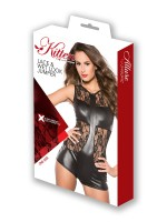 Kitten: Wetlook-Spitzen-Body, schwarz
