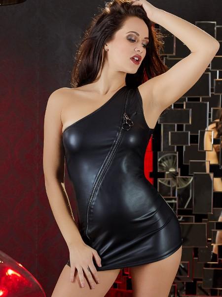 Minikleid mit Zip, schwarz