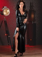 Wetlook-Abendkleid, schwarz