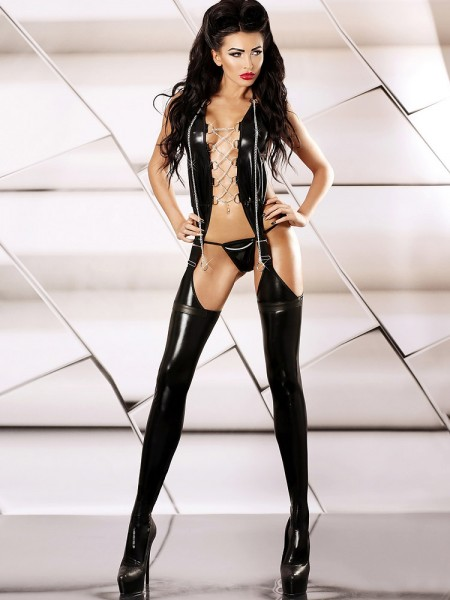 Lolitta Wetlook-Strapscatsuit: Feisty, schwarz
