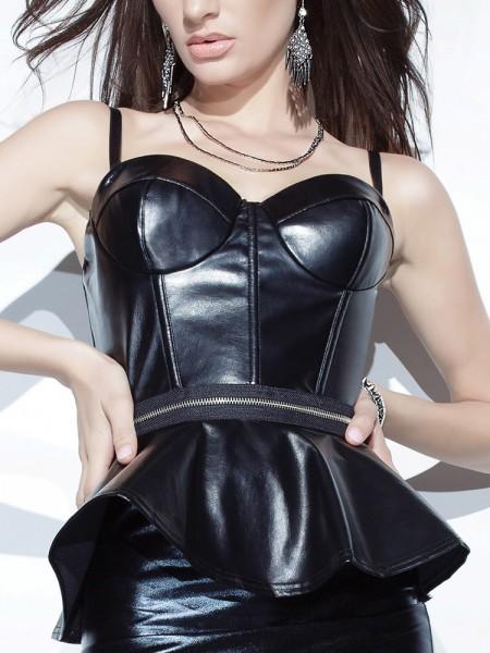 Coquette: Kunstleder-Top mit Zip, schwarz