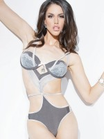 Coquette Stringbody: Enamoured, grau