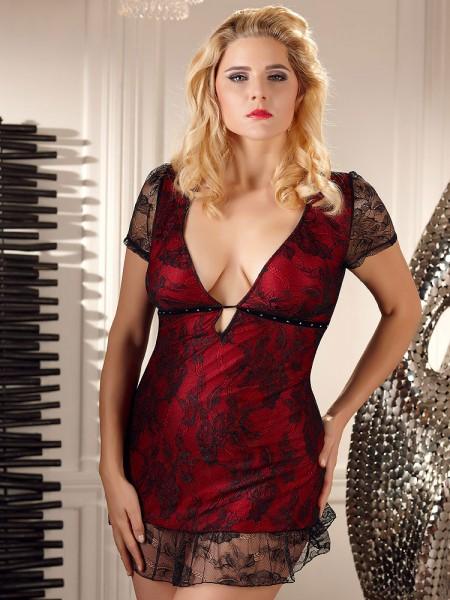 Minikleid, schwarz/rot