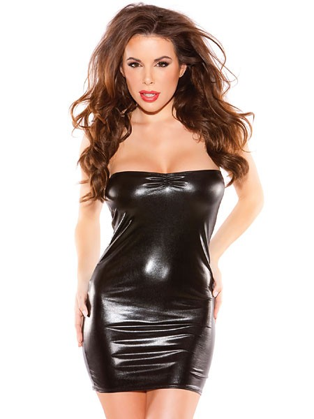 Kitten: Wetlook-Tubekleid, schwarz