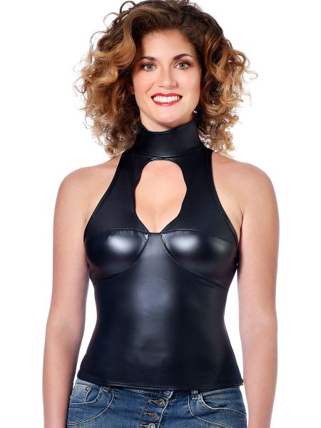 Patrice Catanzaro Baby: Wetlook-Netz-Top, schwarz