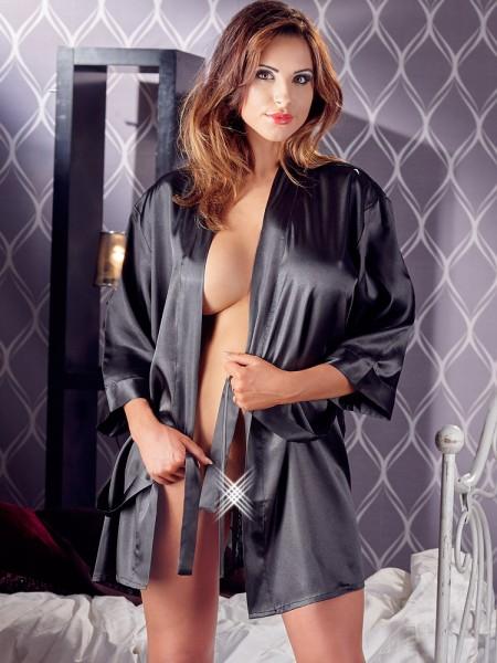 Satin-Spitzen-Kimono, schwarz