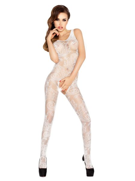 Passion BS020: Ouvert-Catsuit, weiß