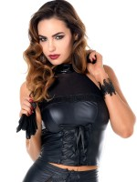 Patrice Catanzaro Felicity: Wetlook-Netz-Top, schwarz