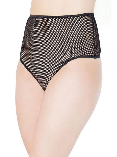 Coquette: Netz-Taillenstring, schwarz