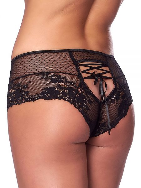 Spitzen-Panty mit Schnürung, schwarz