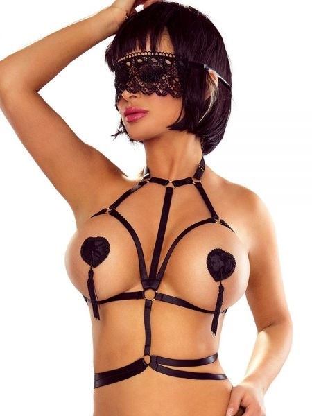 Provocative Harness Ouvert Bra: Harness-BH, schwarz