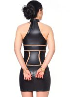 Patrice Catanzaro Kasia: Wetlook-Minikleid, schwarz