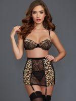 Dreamgirl Strapsset, schwarz/leopard