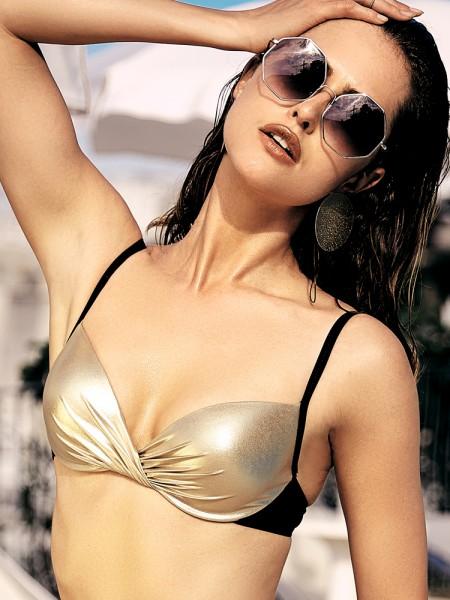 Anabel Arto: Push-Up Bikini Top, schwarz/gold