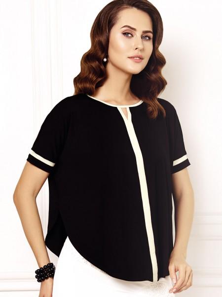 Anabel Arto: Shirt, schwarz/champagner