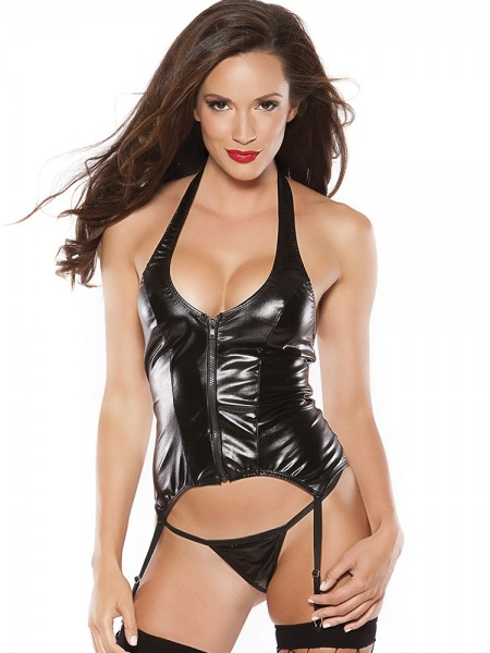 Kitten: Wetlook-Strapshemd-Set, schwarz