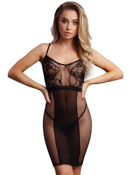 Le Dèsir Knee-Length Lace and Fishnet Dress: Netz-Chemise, schwarz