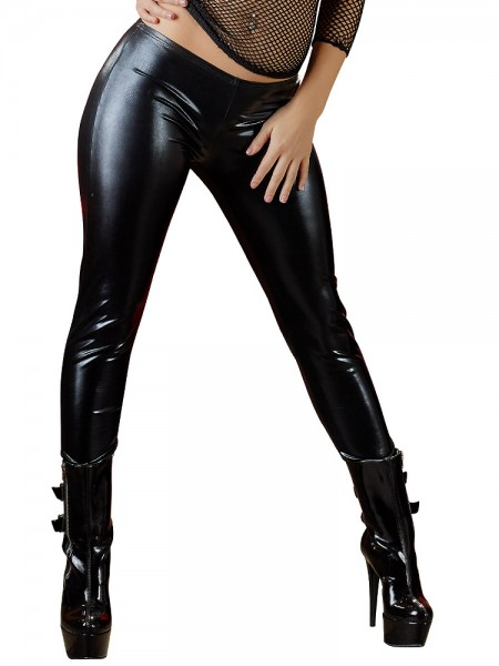 Wetlook-Leggings, schwarz