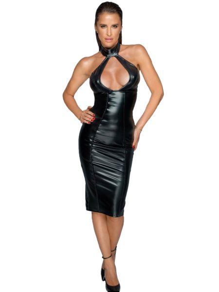 Noir Handmade: Wetlook-Kleid F231, schwarz