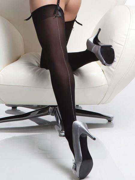 Coquette: Naht-Strapsstrümpfe, schwarz/silber