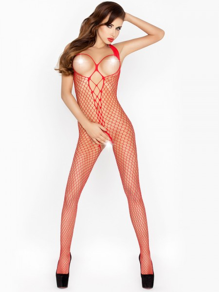 Passion BS014: Ouvert-Catsuit, rot