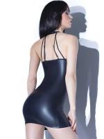 Coquette: Wetlook-Minikleid, schwarz