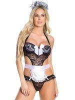 Coquette Elite Kostüm: Zimmermädchen-Body, schwarz/weiß