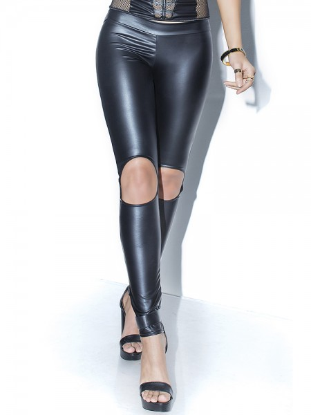 Coquette: Wetlook-Leggings, schwarz