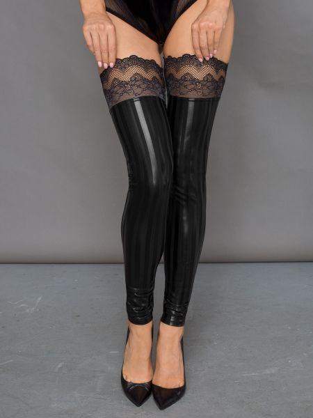 Noir Handmade: Wetlook-Spitzen-Beinstulpen, schwarz