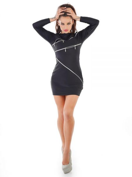 MeSeduce Zipper-Minikleid: Osaka D0205, schwarz