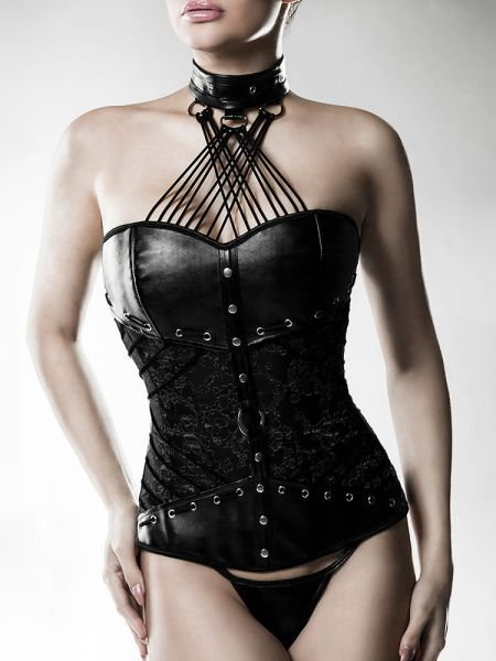 Grey Velvet 14494: Kunstleder-Corsage, schwarz