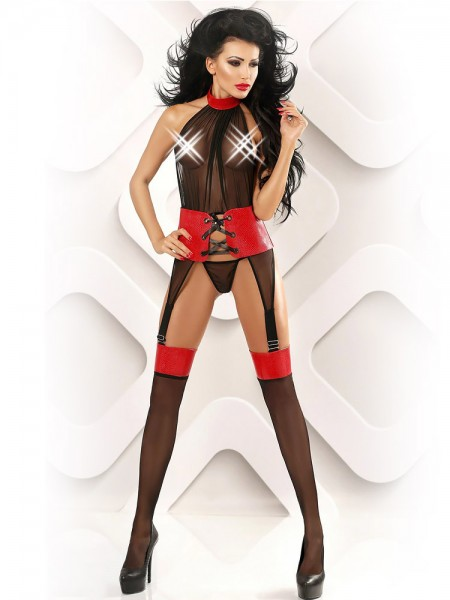 Lolitta Strapscatsuit: Ideal, schwarz/rot