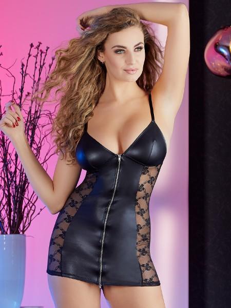Minikleid mit Reißverschluss, schwarz
