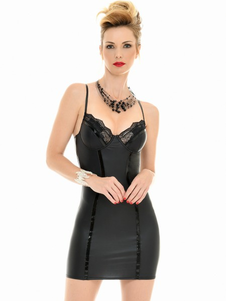 Patrice Catanzaro Amelie: Wetlook-Minikleid, schwarz