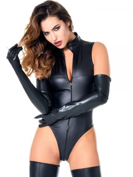 Patrice Catanzaro Manon: Wetlook-Body, schwarz