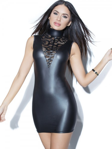 Coquette: Wetlook-Minikleid, schwarz