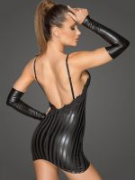 Noir Handmade: Wetlook-Minikleid F208, schwarz