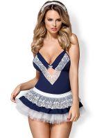 Obsessive 872: Zimmermädchen-Kostüm, blau/weiß