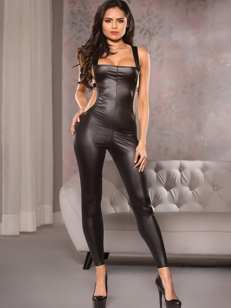 Allure: Wetlook-Catsuit, schwarz