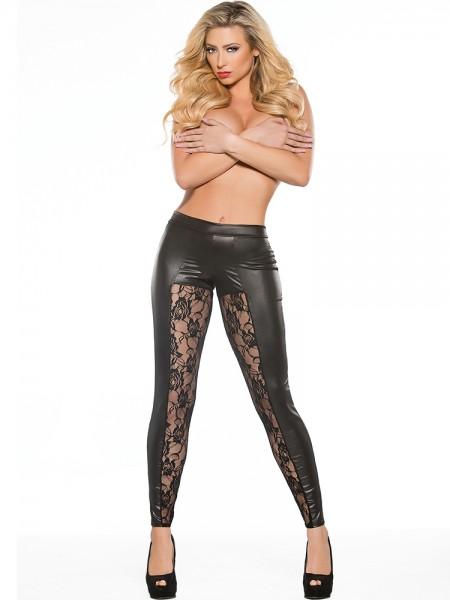 Kitten: Wetlook-Spitzen-Leggings, schwarz